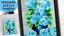 Freehand acrylic painting HYDRANGEA ❀✿🌷 flower on Mixed media Paper || Creative Ideas ART || Fun