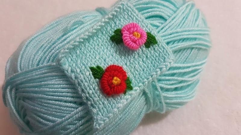 Örgü üzerine rokoko çiçek brezilya nakışı yapımı Brazilian embroidery to knit rococo rose making