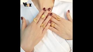 Vnox массивные a z кольца для женщин размер регулируемый золотой тон алфавит имя палец браслет