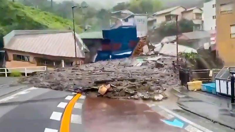 Dramatic video LARGEST LANDSLIDE in Atami City Japan July 3 2021