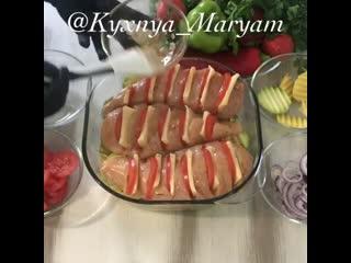 Курочка с овощами и сыром в духовке (ингредиенты указаны в описании видео)