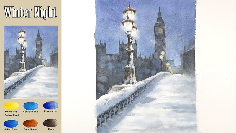 Basic Landscape Watercolor Winter Night Masking work wat in wet Arches rough NAMIL ART