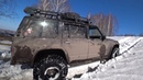 Nissan Patrol Y60 испытание резины Maxxis Creepy Crawler по глубокому мокрому снегу едет как трактор