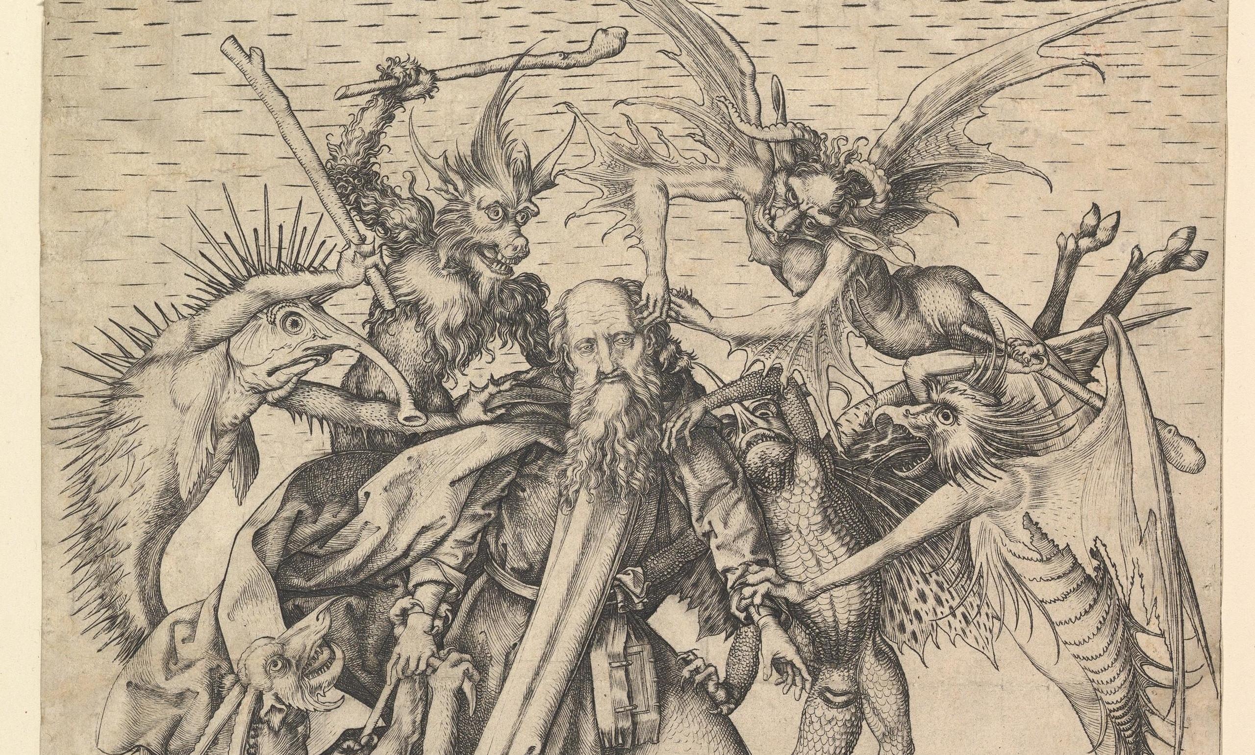 гравюра: гравировка Мартин Шонгауэр Искушение Святого Антони