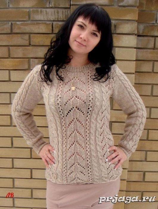 Пуловер спицами «Ажуры и косы», описание: