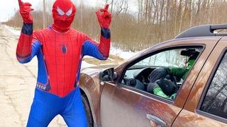 Hulk VS Spiderman VS Captain America they go by car