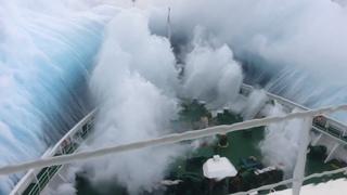 Ship in Storm | Cruise Ship Climbing Up Big Waves