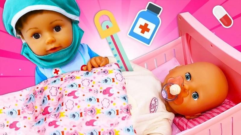 Baby Born hasta oldu. Bebek bakma oyunları. Doktor oyunları.