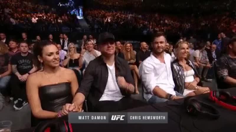 Крис Хемсворт и Мэтт Дэймон на матче UFC234