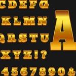 Золотые алфавиты (латиница и кириллица) для веб-дизайна