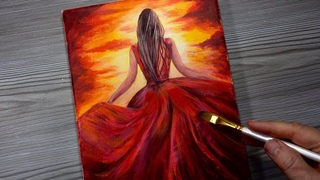 RED DRESS SUNSET / Acrylic Painting / How To Step By Step For Beginners /  Speed Painting
