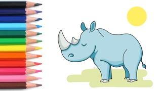Алфавит для детей учим буквы весело мультики раскраска как нарисовать носорога азбука простые слова