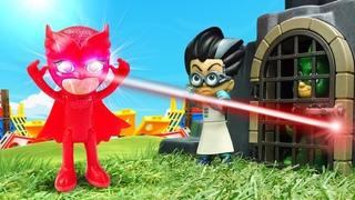 PJ Masks gegen Romeo. Catboy rettet Eulett und Gecko. Spielzeug Video auf Deutsch
