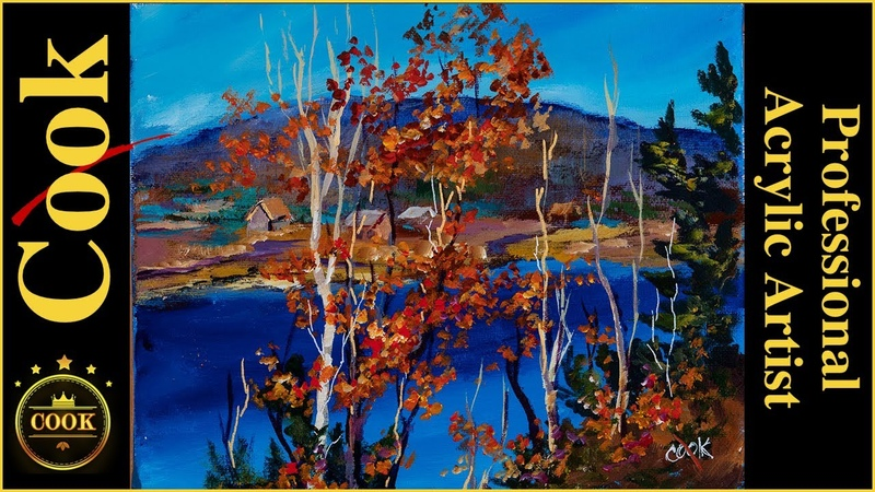 How to paint Fall Trees and Lake is an Easy Acrylic Tutorial for Beginner and Advanced Artists