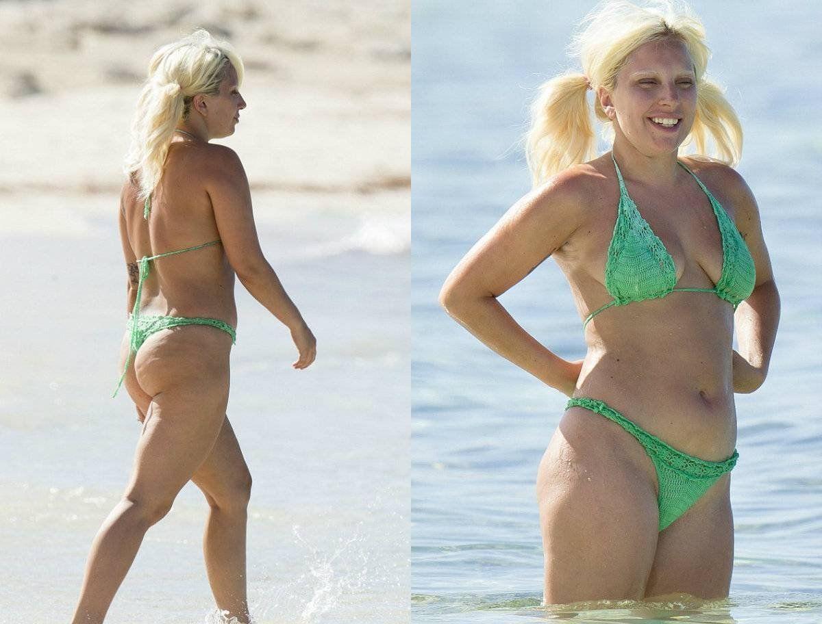 Леди Гага на пляже