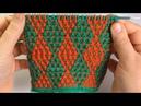 Разноцветные ромбики / Мозаика / Вязание спицами.