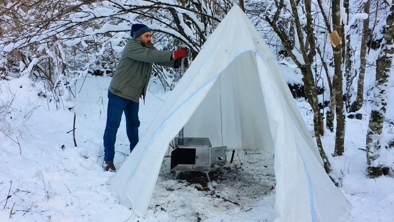 Kış kamp'ı ⛺️ Fırınlı sobamızda yemekler yapıyoruz 3 Bölüm