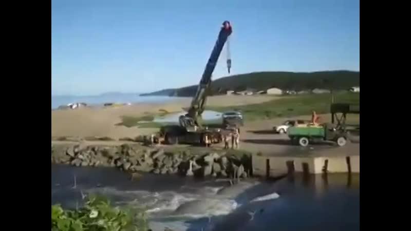 Рыбалка с помощью автокрана