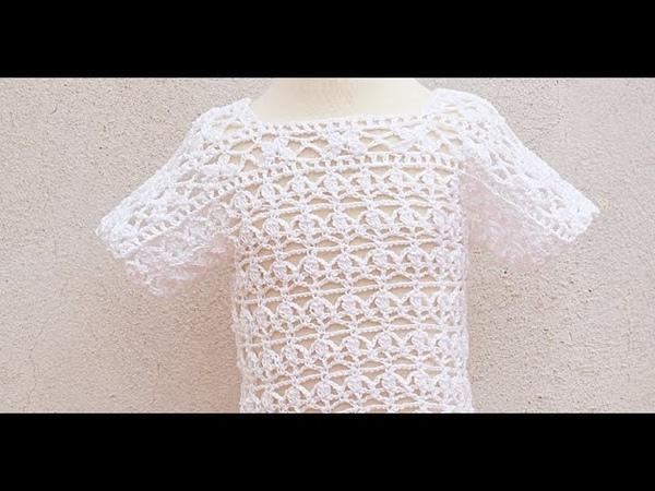 Blusa blanca a crochet o ganchillo para el verano