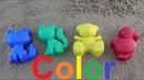 Learn colors with kids funny animals bear cat duck/учим цвета в песочнице с детьми