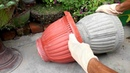 How to make beautiful cement pot at home easily    Creative flower pots ideas.