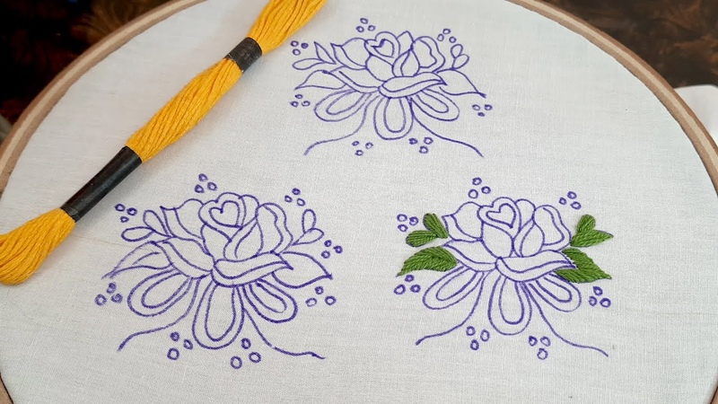 Latest all over design for dress using satin stitch All over design hand embroidery satin stitch