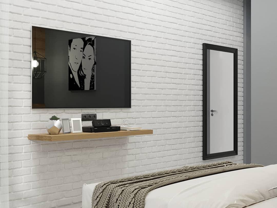 Дизайн — проект спальни с зеркалом в изголовье кровати
