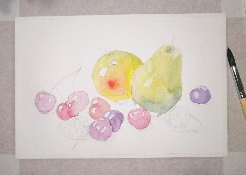 ОНЛАЙН-УРОК по рисованию «Клубника и черешня», изображение №8