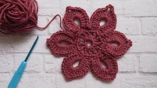 Как связать цветок крючком.Супер простой мотив для начинающих  Урок 276   How to crochet a flower