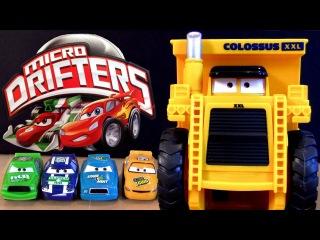 Watch Lightning Mcqueen eaten by Colossus Dump Truck Micro Drifters Cars 2 Disney Pixar car-toys