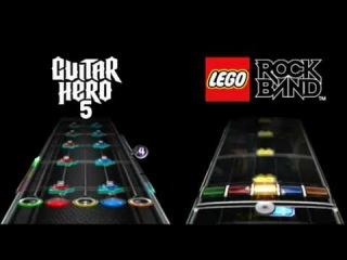 Guitar Hero 5 vs. Lego Rock Band: Song 2 Expert Guitar Chart Comparison