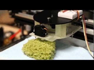 3д принтер, который печатает зеленый сад