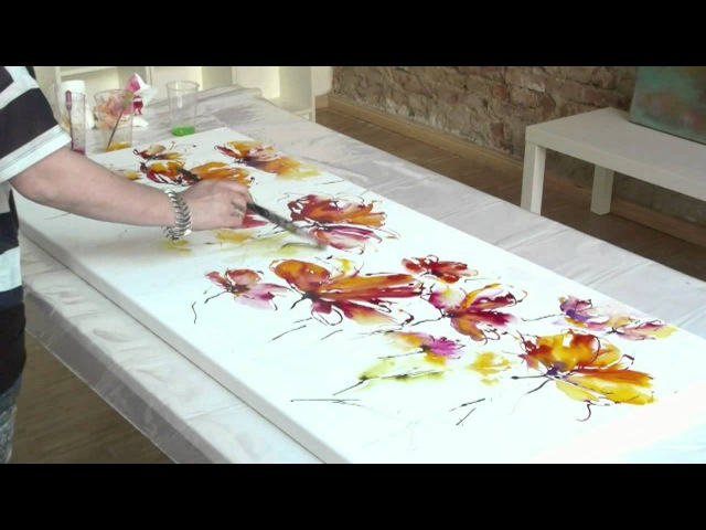 The making of Abstract Summer Acrylic Speed Painting demo by Zacher Finet