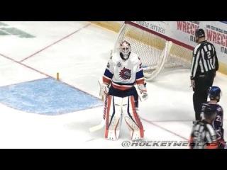 David Leggio Knocks Off The Net on a 2-on-0 - Nov 2, 2014 (AHL)