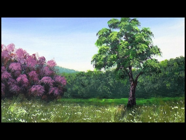 Рисуем Лесистые Горы, Кусты с цветами ,Траву Акрилом. Mountains, Bushes, Grass. Acrylic.