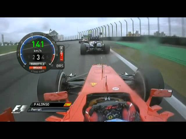 Alonso Start Brazil - Full Onboard (Natural Sounds) Double overtake