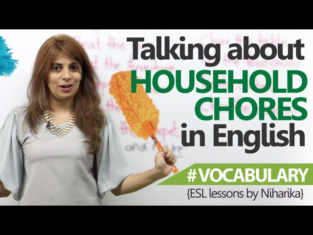 English Lesson Talking about household chores in English Free English speaking Lessons