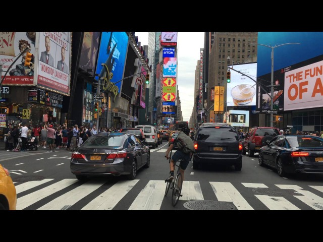 Driving Downtown Times Square 4K New York City USA