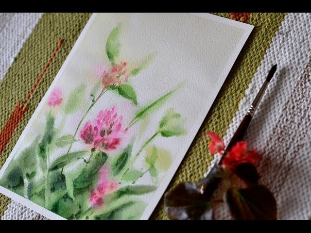 Картина акварелью Теплый клевер Watercolor painting