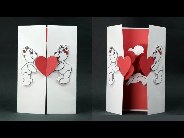 Handmade Valentine DIY Card- Kissing Couple Pop Up Card