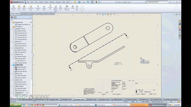 SOLIDWORKS Auxillary View