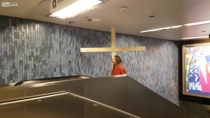 LiveLeakcom Jesus has escalator accident