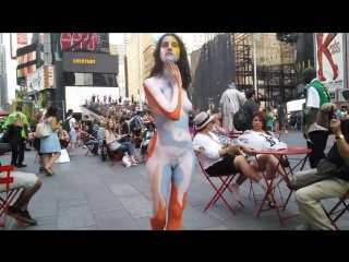 Nude body painting .time square nyc 2015-sd