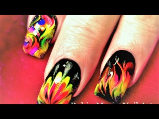 No Water Needed | Fire Drag Marble Nail Art Design Tutorial