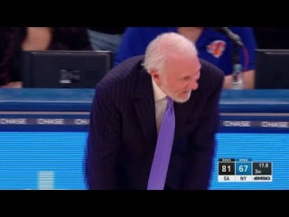 Manu Ginobili's Crazy 3-Pointer, Pop Can't Believe It | Spurs vs Knicks | Jan 2 | 2017-18 NBA Season