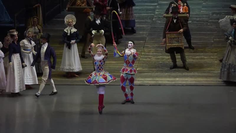 28.09.2018 Mariinsky, The Bronze Horseman, Tamara Gimadieva (Columbine), Yaroslav Baibordin (Harlequin), Anna Smirnova (Acrobat)