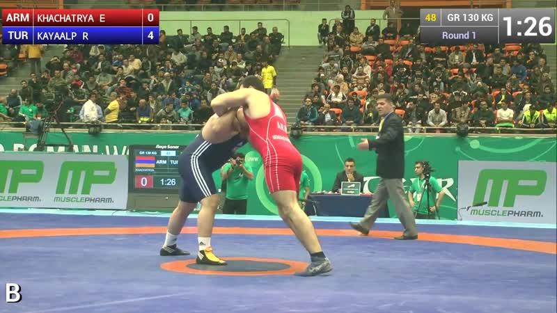 Group B, Round 1 - Greco-Roman Wrestling 130 kg - KHACHATRYA (ARM) vs KAYAALP (T