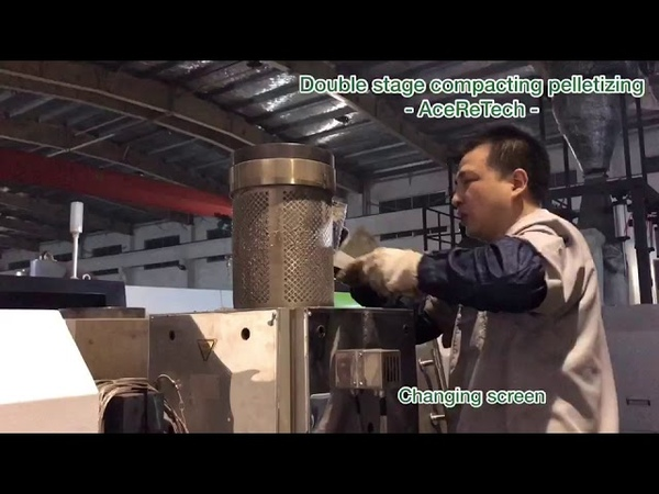 Double stage under watering pelletizing for plastic recycling - Aceretech