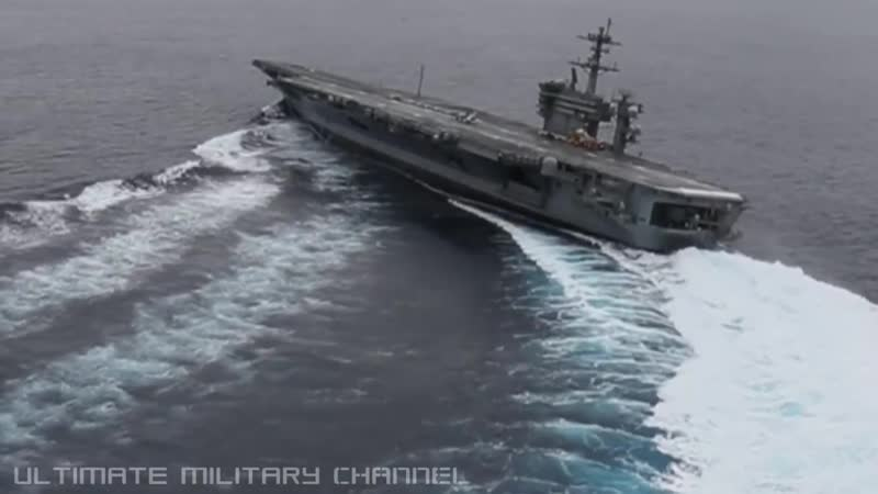 HIGH SPEED MANEUVERS US Nimitz class SUPERCARRIER in a series of EXTREME RUDDER