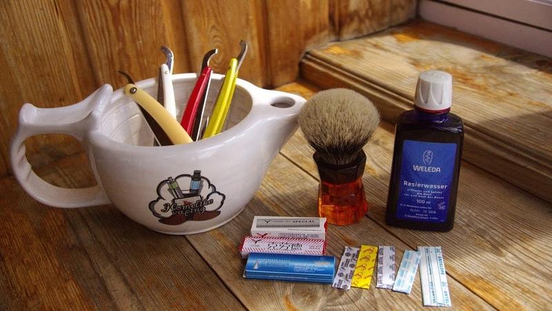 404 ZY Straight Edge Razor, Sedef, NSC Shaving Soap Birch, Yaqi 26 мм Moka Express, Weleda бритьё